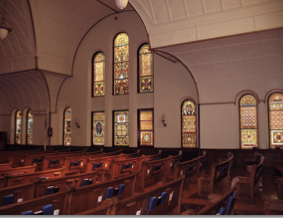 East view of church interior